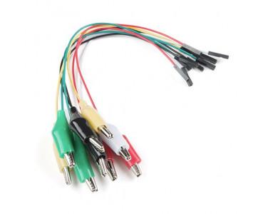 10 câbles de connexion fem. vers crocodiles