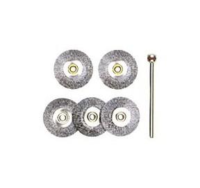 5 brosses circulaires Ø22 mm en acier 28952
