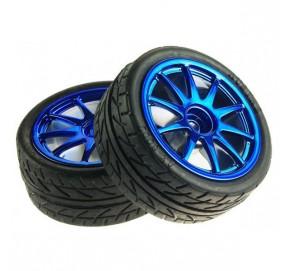 Paire de roues bleues