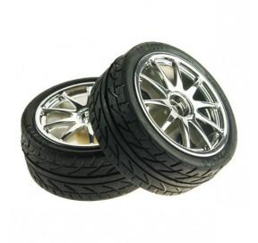 Paire de roues chromées