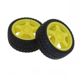 Paire de roues jaunes éco DGR002