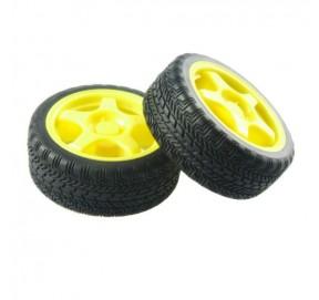 Paire de roues jaunes