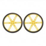 Paire de roues jaunes Pololu 80 x 10 mm